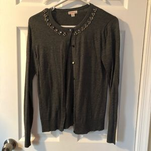 Gray cardigan sweater with embellished neckline